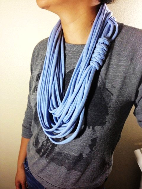 T-Shirt Scarf in Light Blue - Infinity Scarf - Multi-Stranded Scarf - Eco-Friendly - Fabric Necklace