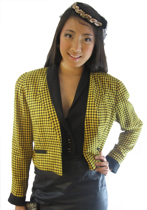 yellow and black houndstooth jacket by sammy davis vintage