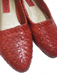 leather red flats by sammy davis vintage