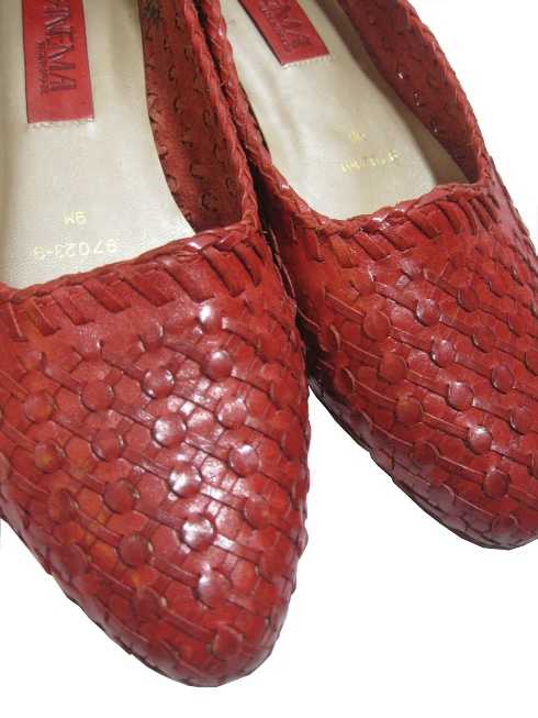 leather red flats by sammy davis vintage