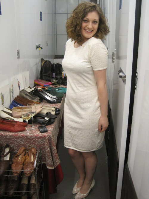 anna bassham of shoe hunting wearing sammy davis vintage