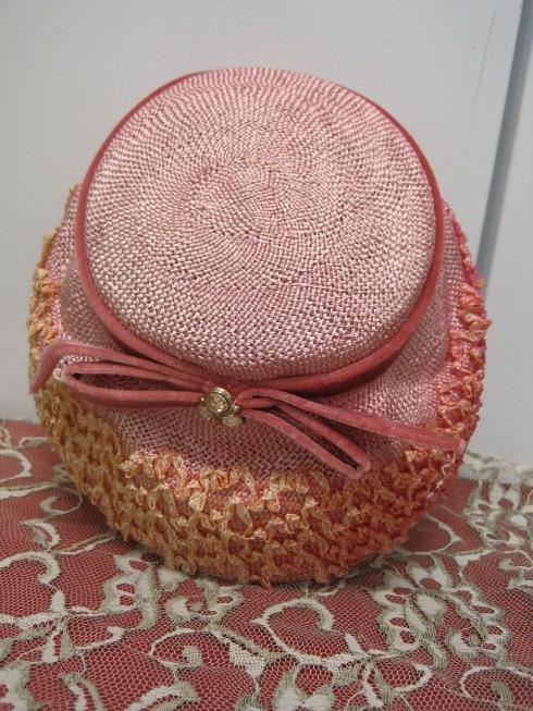 pink wicker vintage hat