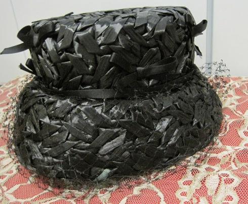 black vintage wicker hat