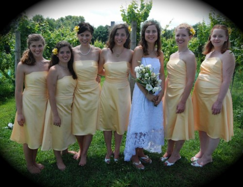 bridal party at wedding