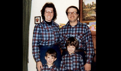 awkward family wearing plaid