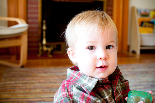 baby in flannel
