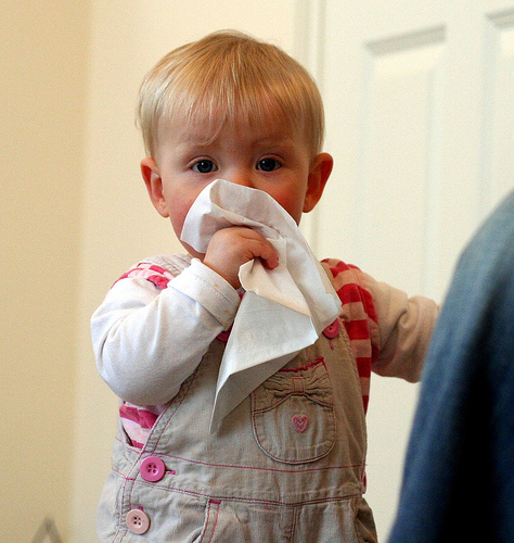 baby blowing nose