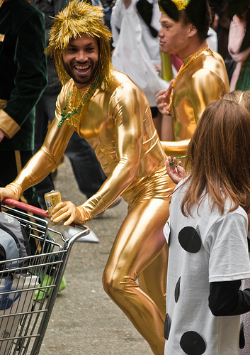 gold outfit man