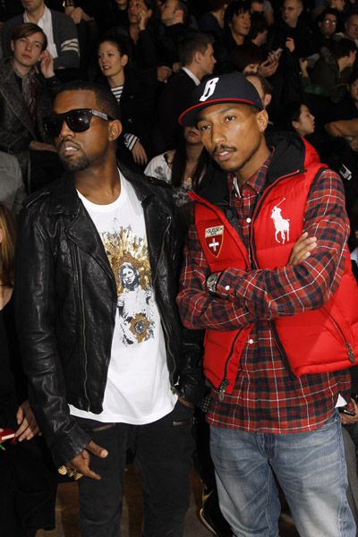 kanye west and pharrel williams wearing flannel