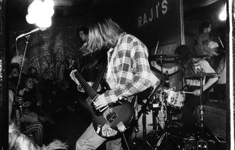 nirvana wearing flannel shirt