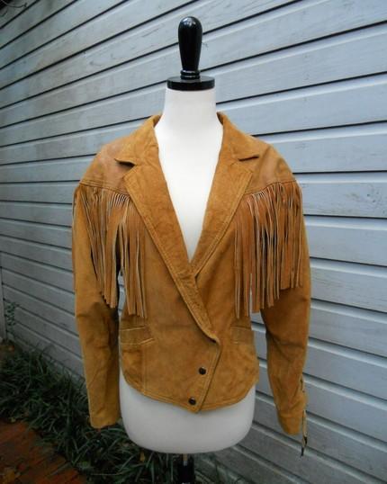 vintage caramel fringe jacket