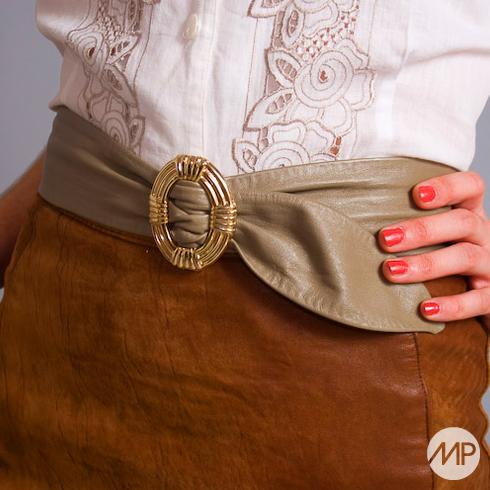 vintage 80s leather taupe belt