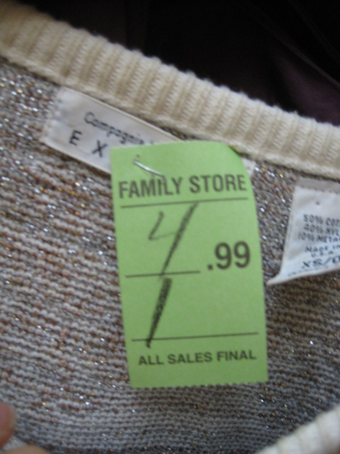 Salvation Army Express Sweater Price Tag