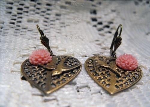 Antique Heart Swallow Earrings Etsy