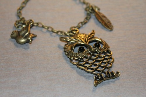 bronze vintage owl necklace etsy