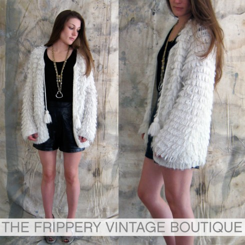 vintage shaggy white sweater