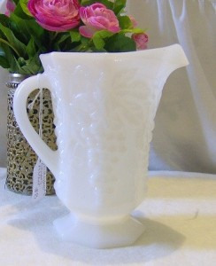 Vintage Milk Glass Pitcher Etsy