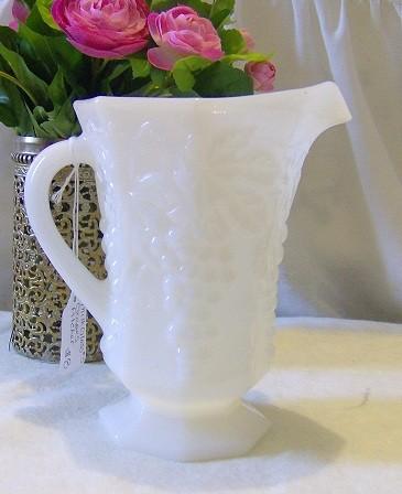 Vintage Milk Glass Pitcher Etsy