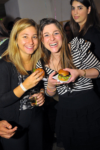 enjoying pop burgers at shes the first soiree