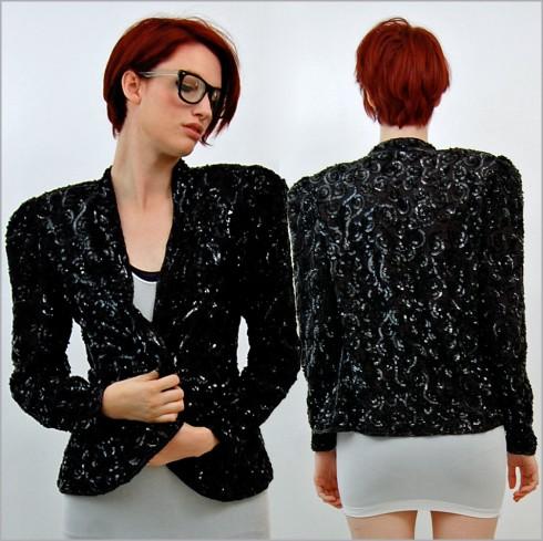 vintage 80s sequin jacket