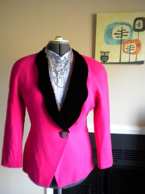 vintage hot pink blazer etsy