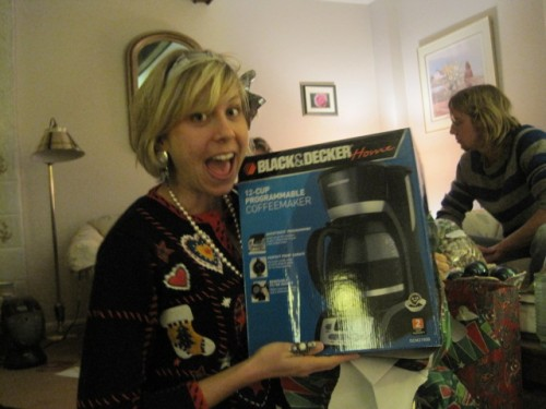 sammy davis posing with new coffee maker at christmas