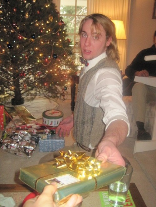 george handing out christmas presents