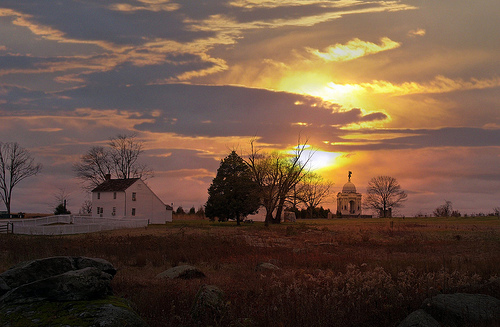 beautiful sunset over farm