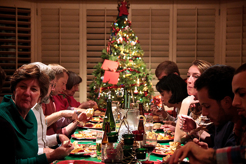 family eating christmas dinner