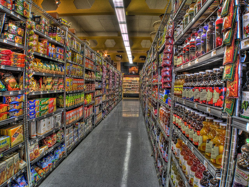 grocery store aisles of food