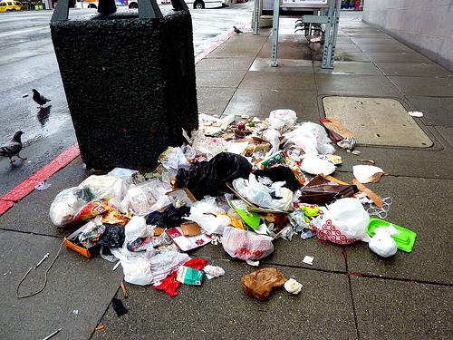 spilled city trash can