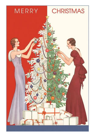 vintage decorating christmas tree picture