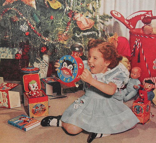 vintage christmas morning picture
