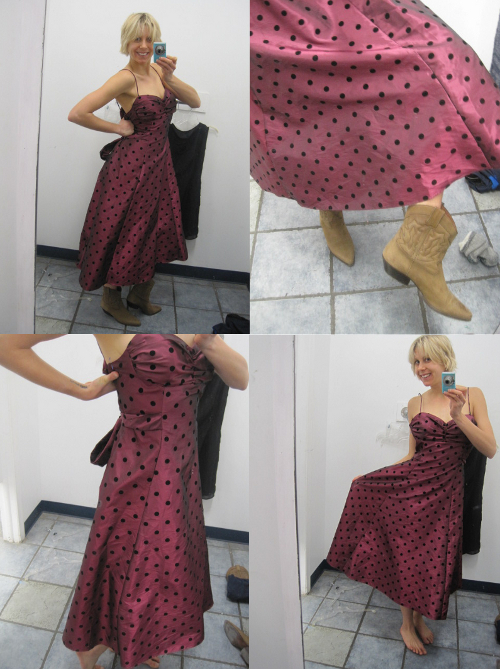 thrift store style polka dot vintage dress