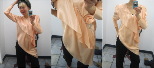 thrift store fashion vintage silk shirt