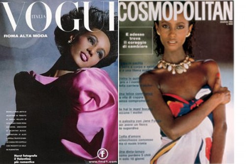 supermodel iman on cover of vintage vogue and cosmopolitan magazines