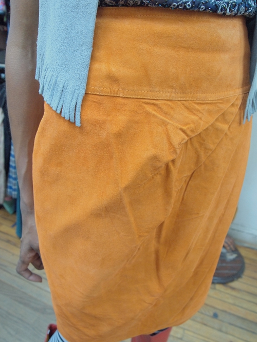 womens vintage fashion suede skirt
