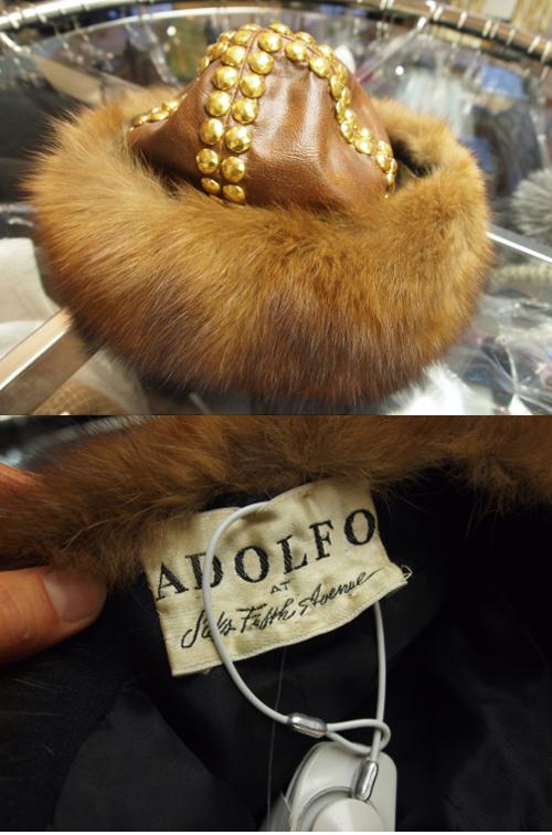 vintage adolfo fur studded hat