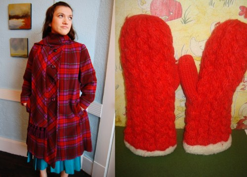 womens vintage 70s plaid coat and red mittens from etsy