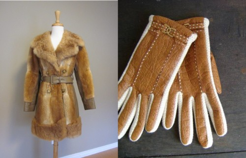 womens vintage fur coat and vintage leather driving globes from etsy