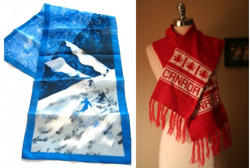 womens vintage skiing winter themed scarves from etsy