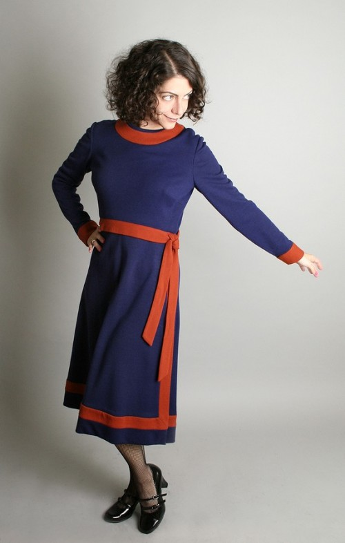 1970s knit blue and orange dress