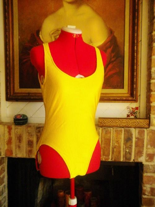 1980s bright yellow vintage swimsuit