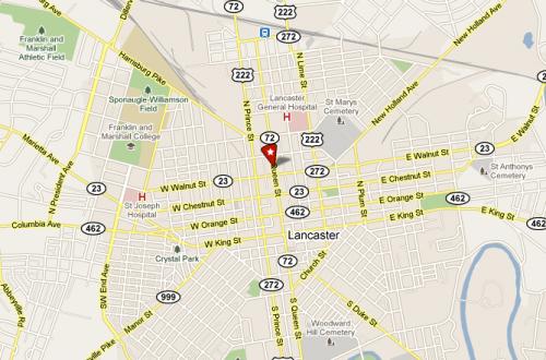 downtown lancaster pa map
