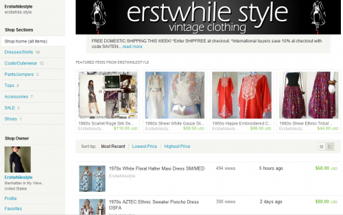 erstwhile style vintage etsy store