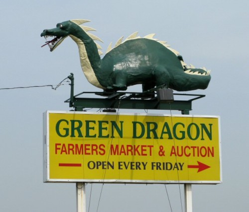 green dragon flea market sign