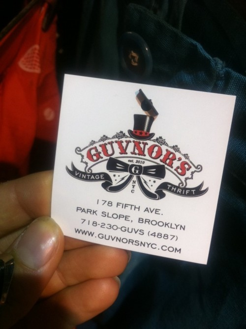guvnor's thrift and vintage store card brooklyn