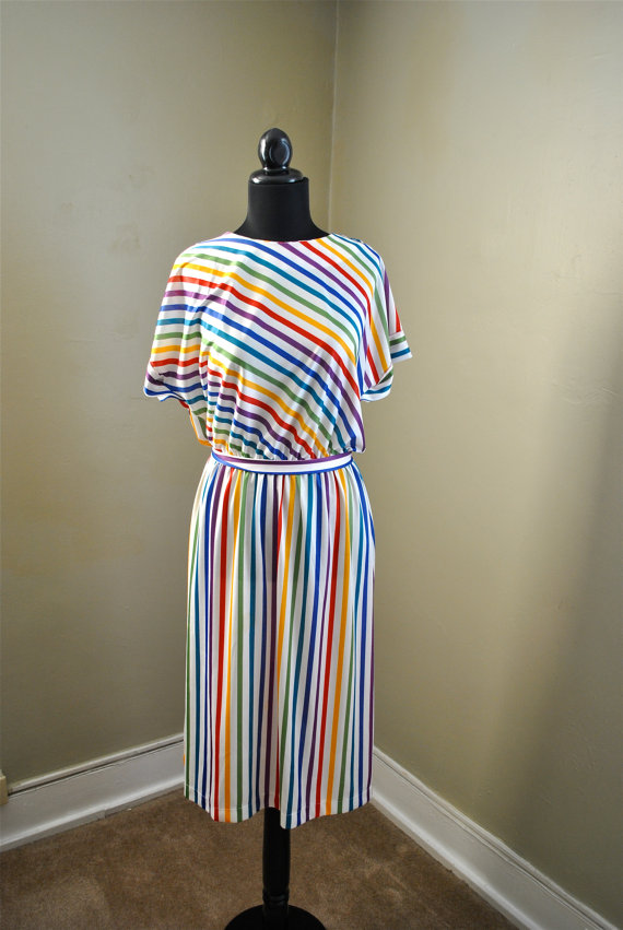 rainbow brite striped vintage dress