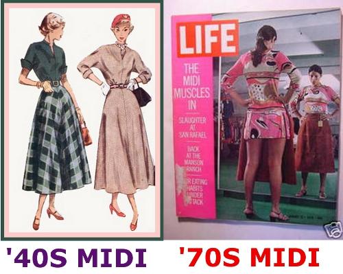 midi skirt 40s to 70s