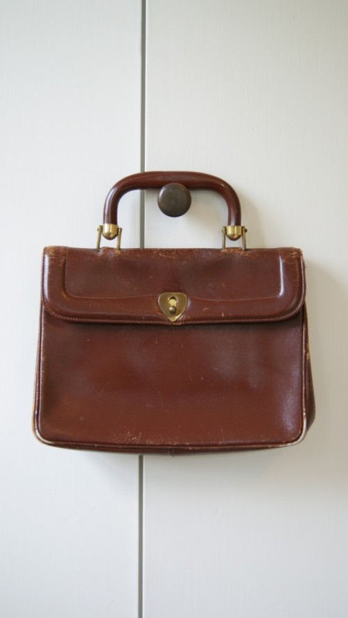 vintage distressed satchel bag